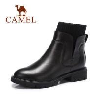 camel 骆驼女靴 秋冬女鞋舒适保暖女靴短靴休闲简约平跟棉靴