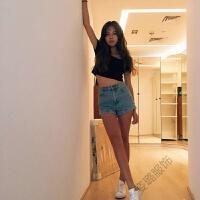 夏季韩国复古时尚高腰牛仔短裤女弹力宽松卷边百搭款热裤 浅蓝色