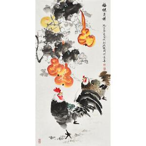 当代知名画家孔繁珍三尺整张花鸟画gh01171