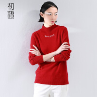 初语 冬季新品立领字母长袖针织衫 修身打底羊绒衫女 8540423036