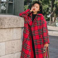 毛呢外套女中长款2018冬季新款流行红色格子加厚森系学生呢子大衣 红格子 S