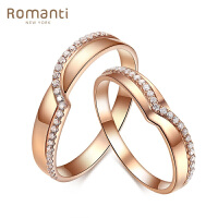 罗曼蒂珠宝18K玫瑰金钻石戒指 情侣对戒 男女戒结婚钻戒 需定制