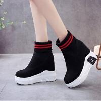 春秋超高马丁靴12厘米内增高女靴厚底松糕休闲鞋磨砂弹力袜子短靴
