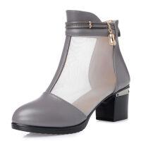 新款网靴女士凉鞋中跟大码短靴女粗跟圆头网纱女短靴35-42码