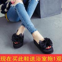 新款高跟拖鞋女夏外穿学生增高时尚松糕凉拖防滑坡跟厚底一字拖鞋 34 (适合33的脚)