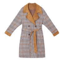 冯提莫机场同款千鸟格毛呢大衣女中长款秋冬新款时尚chic风衣外套