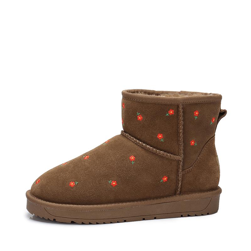 camel骆驼女鞋 秋冬新款 甜美小清新保暖雪地靴 平底碎花短筒靴子