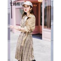 七格格chic风衣女秋季中长款韩版新款宽松拼接休闲格子外套