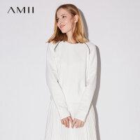 Amii极简街头休闲黑色显瘦纯棉长袖女2018秋新款圆领直筒宽松T恤