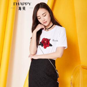 海贝夏季新款女装上衣 休闲简约纯棉撞色绣花印花短袖白色T恤