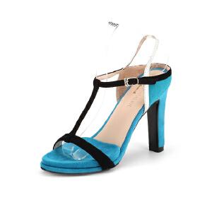 菲伯丽尔Fondberyl夏季羊皮丁字型英伦休闲通勤凉鞋女FB52111165