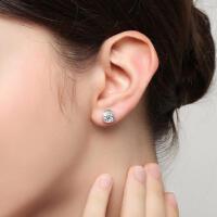 韩国气质合成水晶单钻S925银耳钉耳环饰品女饰品送女友耳饰