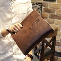 商务公文包男包 男士斜挎包包手提包复古包斜跨韩版包商务休闲单肩包 咖啡色