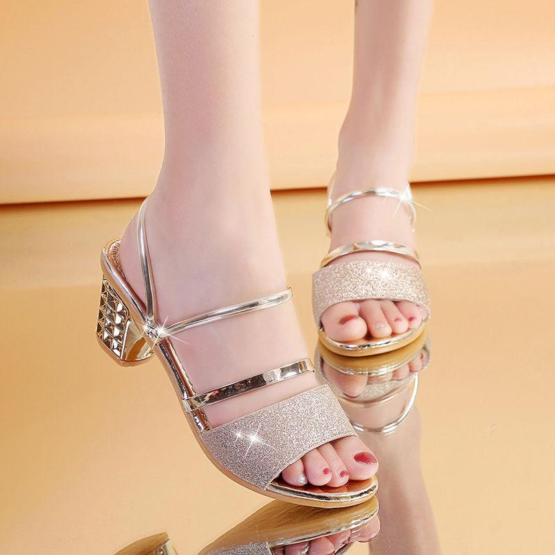凉鞋女高跟露趾中跟百搭一鞋两穿粗跟2019夏季新款韩版凉拖女鞋子