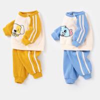 【1件3.5折】婴儿卫衣套装春秋外穿男童上衣秋季女新生幼儿裤子宝宝秋装两件套