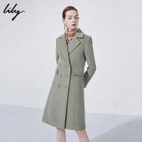【不打烊价:539.7元】 Lily春秋新款女装西装领长款双排扣大衣毛呢外套118400F1529
