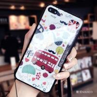 玻璃背壳苹果x手机壳7plus硅胶全包边iphone8挂绳6s新款牌女 6/6s 4.7寸