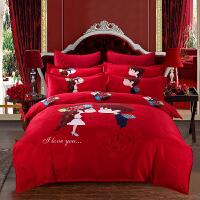 婚庆大红色棉床单四件套结婚用新婚被子喜被纯棉床上用品六件套