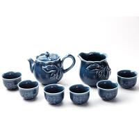 乾唐轩活瓷茶具套组新石榴绿釉茶具1壶6杯带茶海功夫茶具茶壶茶海茶杯