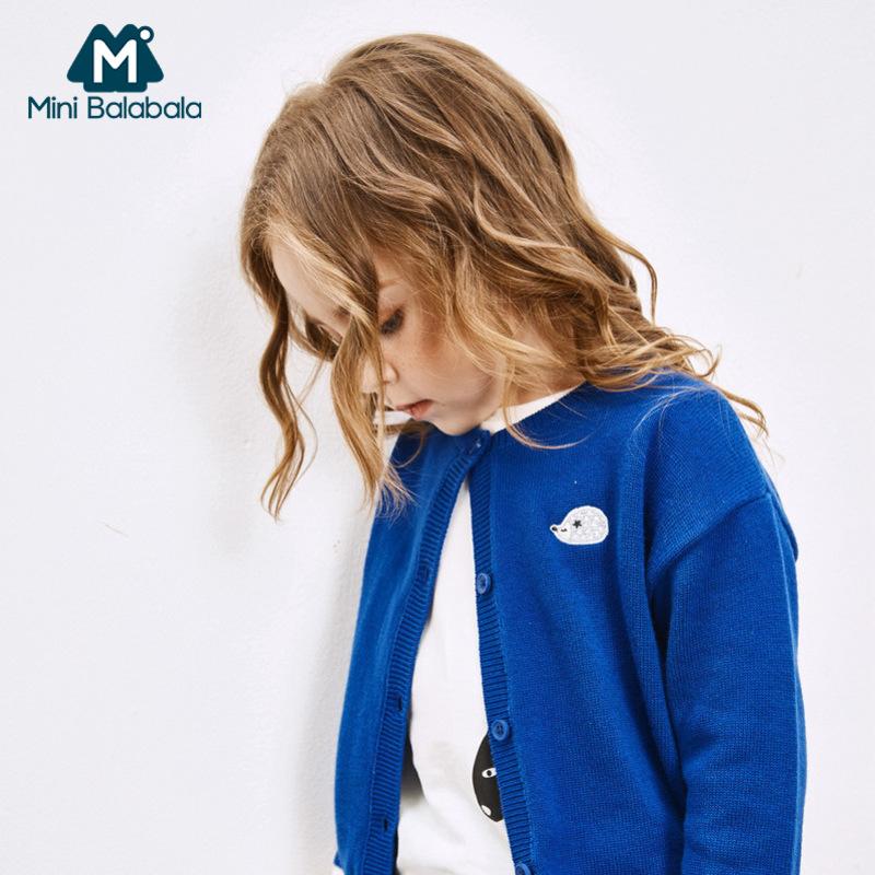 【5折价:69.5】迷你巴拉巴拉女童圆领开衫2018秋季新款儿童长袖针织衫纯棉毛衣