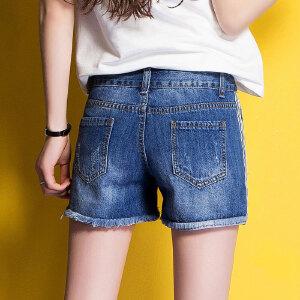 Modern idea2017夏季女式破洞短裤清凉热裤中腰直筒裤潮流韩范花边裤