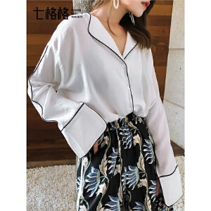 七格格白色衬衫女春2019新款洋气设计感宽松韩版心机v领长袖上衣