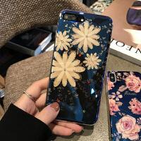 苹果8手机壳iPhone7plus/6/X保护套软防摔8plus菊花蓝光卡通胶钻 7/8 黄花