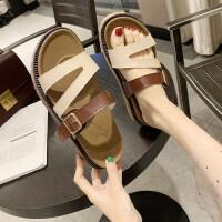 拖鞋女外穿韩版夏季厚底松糕跟中跟一字拖女凉拖鞋女2019新款拖鞋