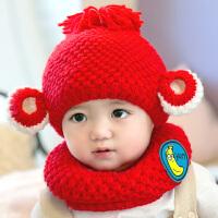 韩版婴儿帽子秋冬新生儿毛线帽女宝宝帽子0-3-6-2个月男童护耳帽 6-72个月