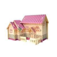 四联玩具建筑物拼图3D手工拼插拼装儿童益智木制模型紫色小屋