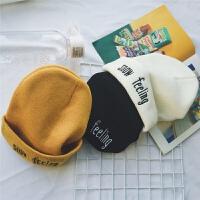 冬季加厚柔软纯色百搭毛线帽子潮男女刺绣休闲街头保暖光板针织帽