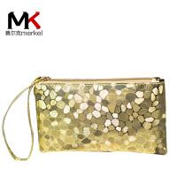 莫尔克(MERKEL)新款女钱包零钱包时尚石头纹拉链长款女士钱包钱夹简约女手拿包