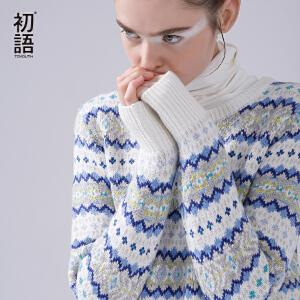 初语秋冬装新款几何撞色花条纹百搭长袖套头毛衣女宽松大码针织衫