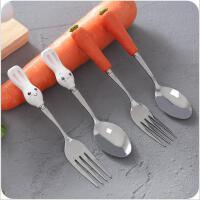 卡通不锈钢长柄勺子叉子 家用餐具便携汤匙儿童调羹
