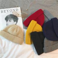 青年秋冬季针织帽子男女生情侣包头帽子 韩版学生纯色毛线帽潮