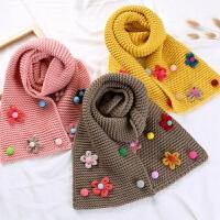 儿童围巾秋冬季女童宝宝保暖可爱小花朵针织毛线韩版围脖披肩加厚