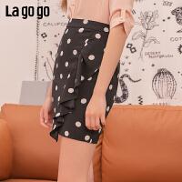 Lgogo/拉谷谷2019年夏季新款时尚女圆点半裙短裙IABB105A44