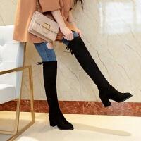 长靴女过膝高跟鞋女冬粗跟2019新款长筒靴高筒靴鞋子女冬弹力靴 高跟【加绒】 偏大半码
