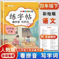 练字帖四年级下册 人教版小学生语文看拼音写词语字帖