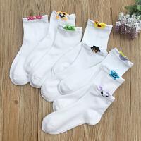 秋冬季韩国女生卡通立体口白袜纯棉白色中筒袜学院风纯色运动棉袜 随机5双装(适合34-39码) 均码