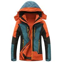 冬装新款豹迹帽胆可脱卸女士冲锋衣外套 15C226二件套女装包邮