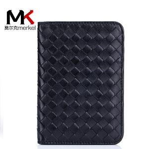 莫尔克(MERKEL)新款男女士真皮护照包证件包情侣羊皮手工编织多功能旅行小钱包