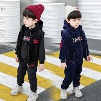 男童套装秋冬装宝宝帅气三件套小童洋气儿童金丝绒潮
