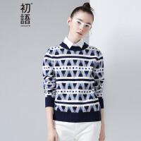 【初语大牌日】初语冬装新款女装 几何条纹圆领长袖针织衫女8640323001