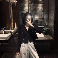 西装外套女2019秋宽松显瘦黑色西服短款网红气质百搭小西装潮 黑色