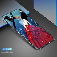 iPhone Xs玻璃手机壳创意适用苹果XR秘密花园6S镶钻7plus保护套i8