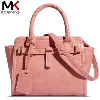莫尔克(MERKEL)新款女包铂金包手提包欧美时尚潮流女包皮带装饰单肩女包