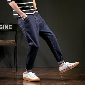 【2件3折价119.7元】唐狮春季新品牛仔裤男士宽松潮流原色小哈伦牛仔长裤青少年