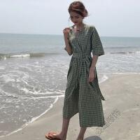 夏装女装韩版中长款气质v领时尚格子系带修身短袖连衣裙长裙仙女 均码