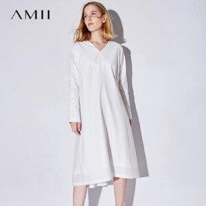 Amii极简荷叶边V领前短后长连衣裙女2018秋新款白色超仙宽松裙子